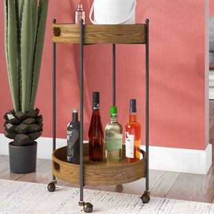 Ginnie 2-Tier Round Metal Frame Bar Cart by Williston Forge