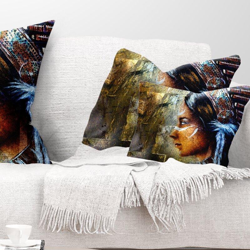 East Urban Home Portrait Indian Woman With Headdress Lumbar Pillow Wayfair