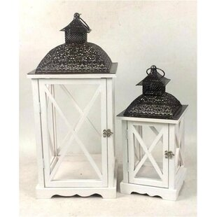 Vintage 2 Piece Wood Lantern Set