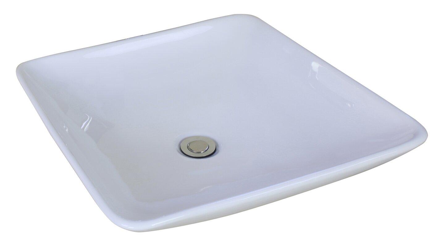 American Imaginations Ceramic Square Vessel Bathroom Sink with ...
