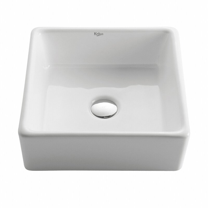 Ceramic Square Vessel Bathroom Sink #farmsink #vesselsink #bathroomsink