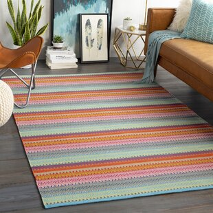 Bybrook Striped Handwoven Flatweave Sky Blue Indoor/Outdoor Area Rug
