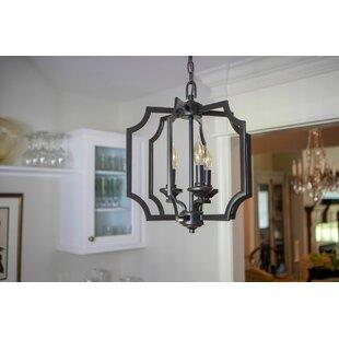 Anaya Square Metal 3-Light Geometric Chandelier by House of Hampton