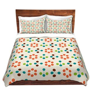 DiaNoche Designs Mid Century Flower Orange Duvet Cover Set