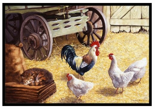 Merveilleux Rooster And Hens Chickens In The Barn Doormat