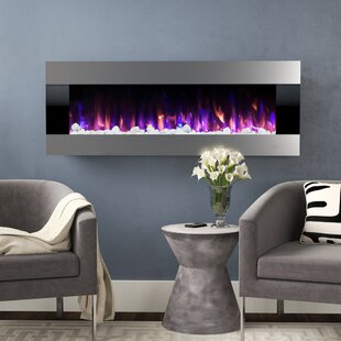 Quesinberry Stainless Steel Wall Mounted Electric Fireplace by Orren Ellis