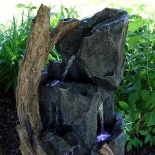 SunnyDaze Decor Resin Cascading Mountainside Rock Fountain with Light