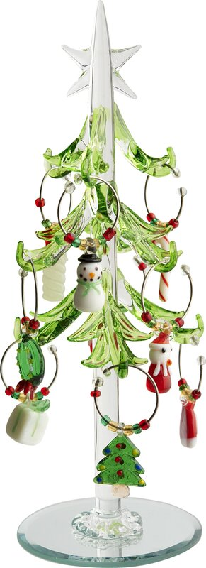 glass christmas tree with wine markers ornaments - Glass Christmas Tree