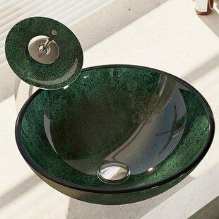 René By Elkay Woodland Glass Circular Vessel Bathroom Sink with Faucet