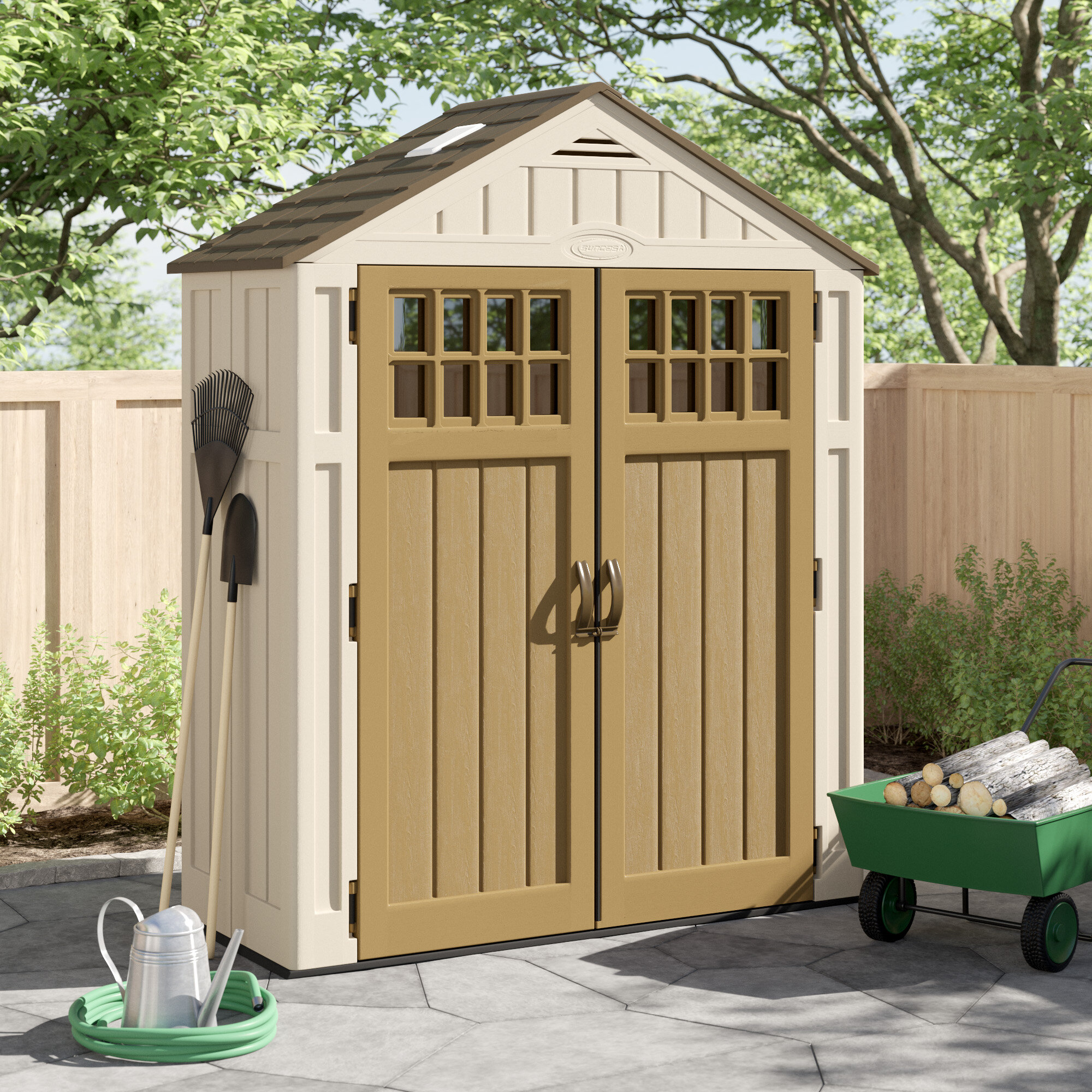 Everett Outdoor 9 ft. W x 9 ft. D Plastic Storage Shed