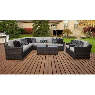 kathy ireland Homes & Gardens River Brook 10 Piece Outdoor Wicker Patio Furniture Set 10a by TK Classics