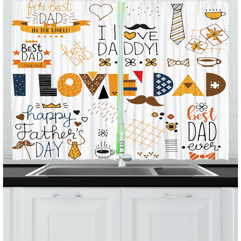 East Urban Home 2 Piece Father S Day I Love Dad Doodle Style Hand Drawn Items Kitchen Curtain Set Wayfair