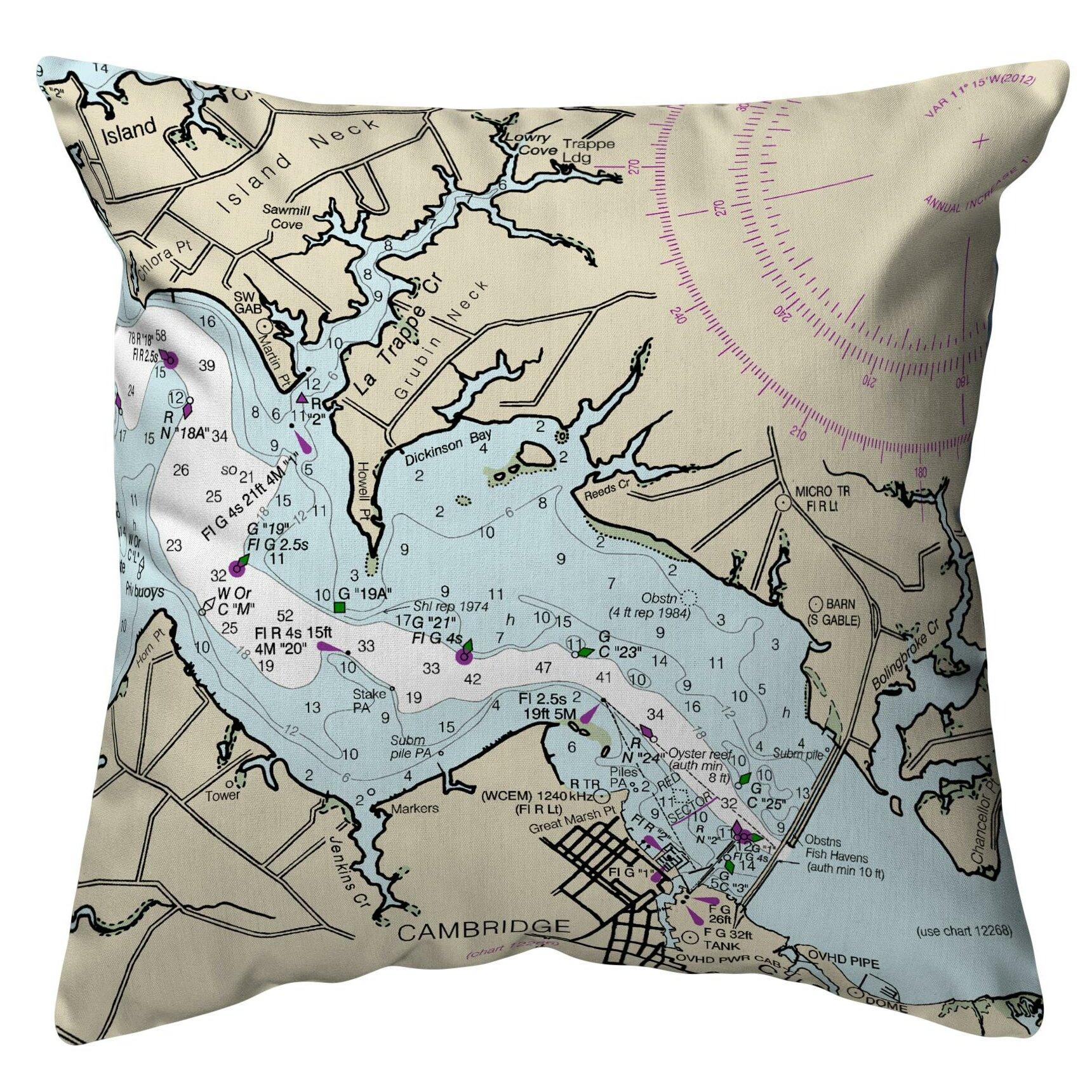 Highland Dunes Quesinberry Cambridge Md Nautical Map Indoor Outdoor Lumbar Pillow Wayfair