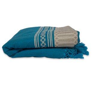 Novica Hand Woven Striped Cotton Bedspread