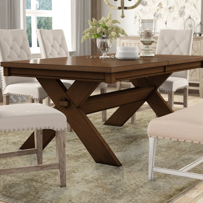 Isabell Acacia Erfly Leaf Extendable Solid Wood Dining Table