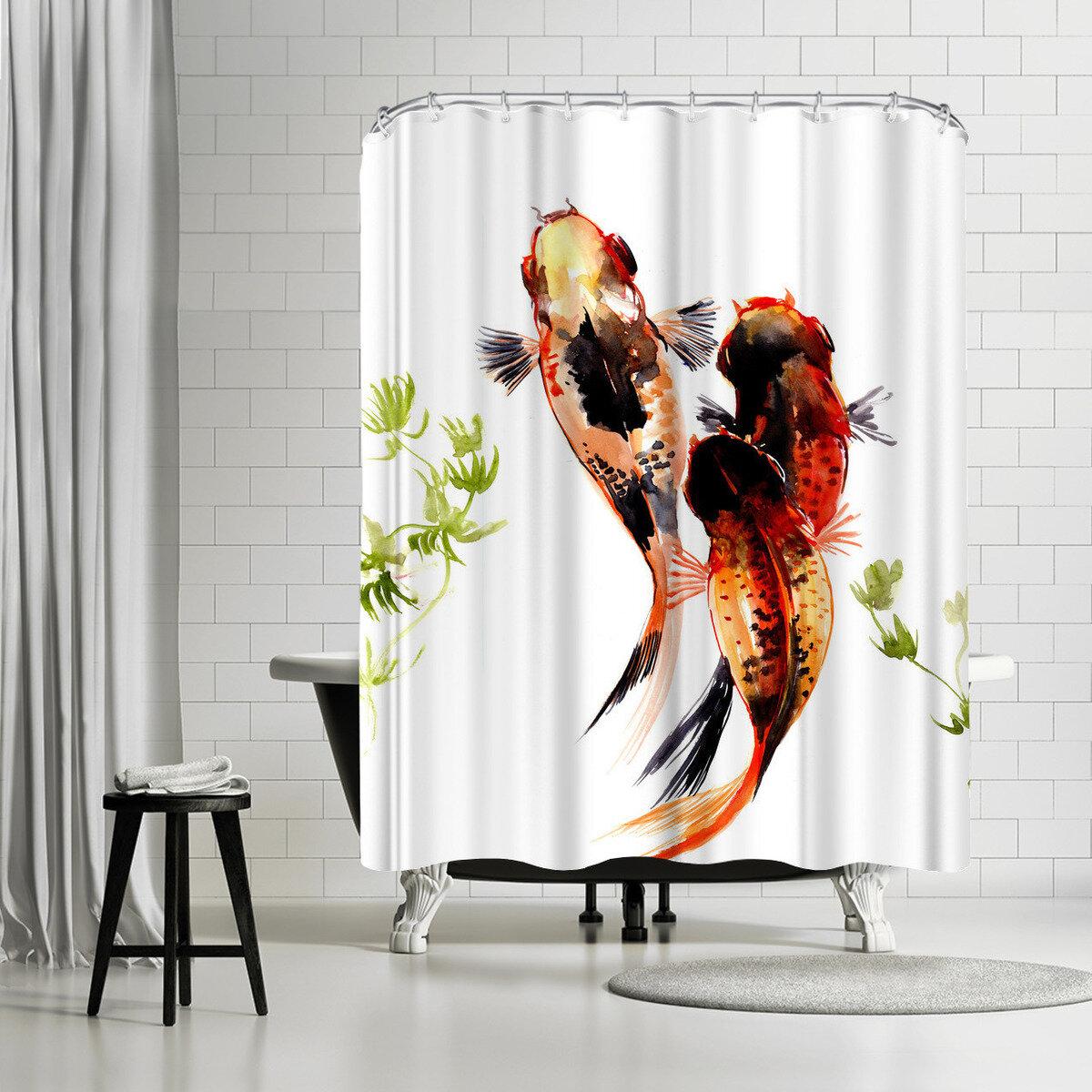 East Urban Home Suren Nersisyan Koi Fish Pond 1 1 Single Shower Curtain Wayfair