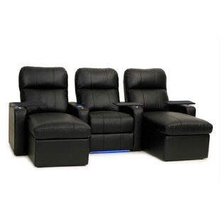 Contemporary Upholstered Leather Home Theater Sofa (Row of 3) by Red Barrel Studio