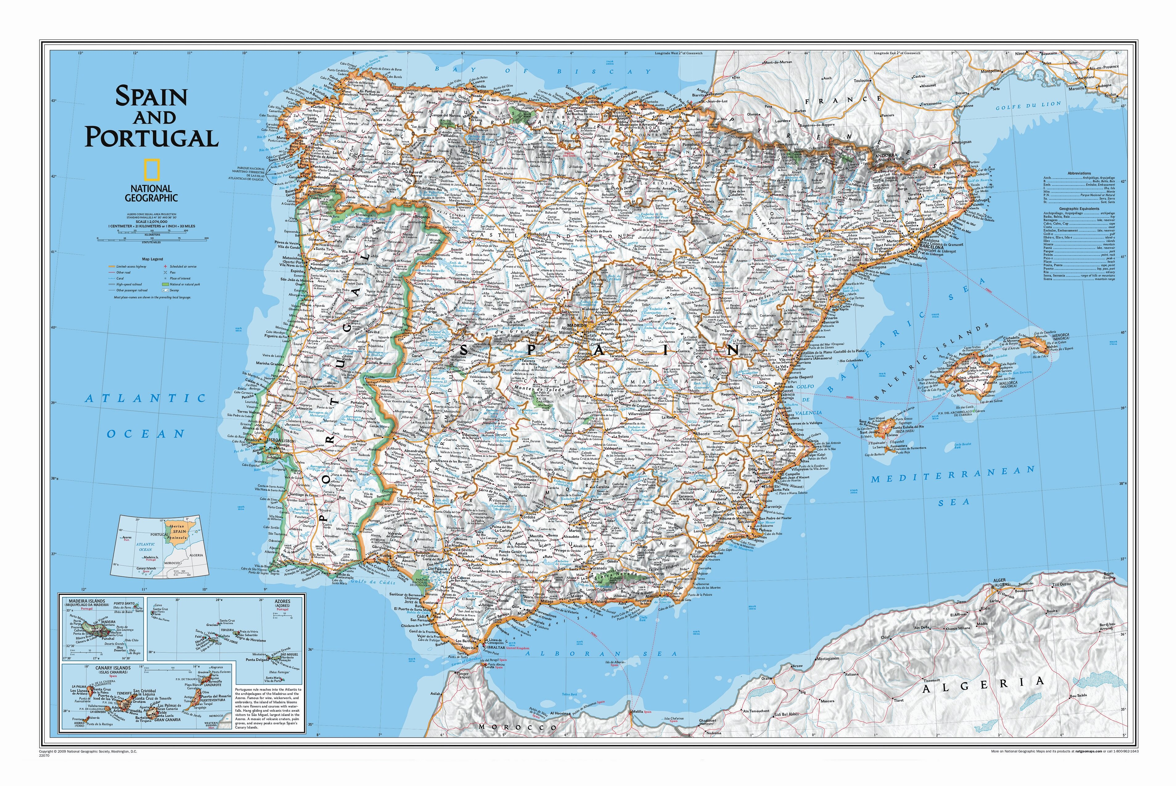 Map Of Portugal And Spain Detailed.Spain Portugal Classic Wall Map