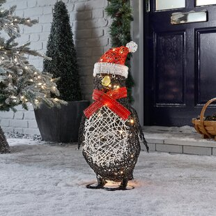 Battery Operated Outdoor Rattan Penguin Christmas Figurine By The Seasonal Aisle