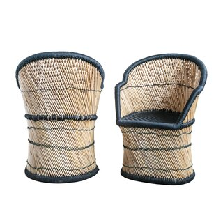 Angeletta Handwoven Bamboo & Rope Barrel Chair by Bungalow Rose SKU:BB448689 Buy