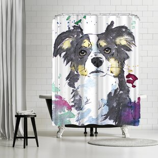 East Urban Home Allison Gray Sweet Puppy Shower Curtain