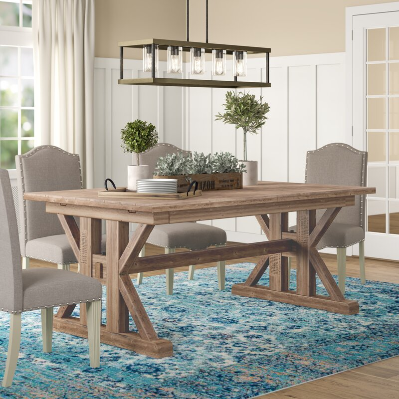 Extendable Pine Solid Wood Dining Table Reviews Birch Lane