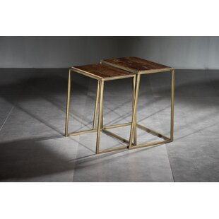 Timmie Wooden Iron 2 Piece Nesting Tables