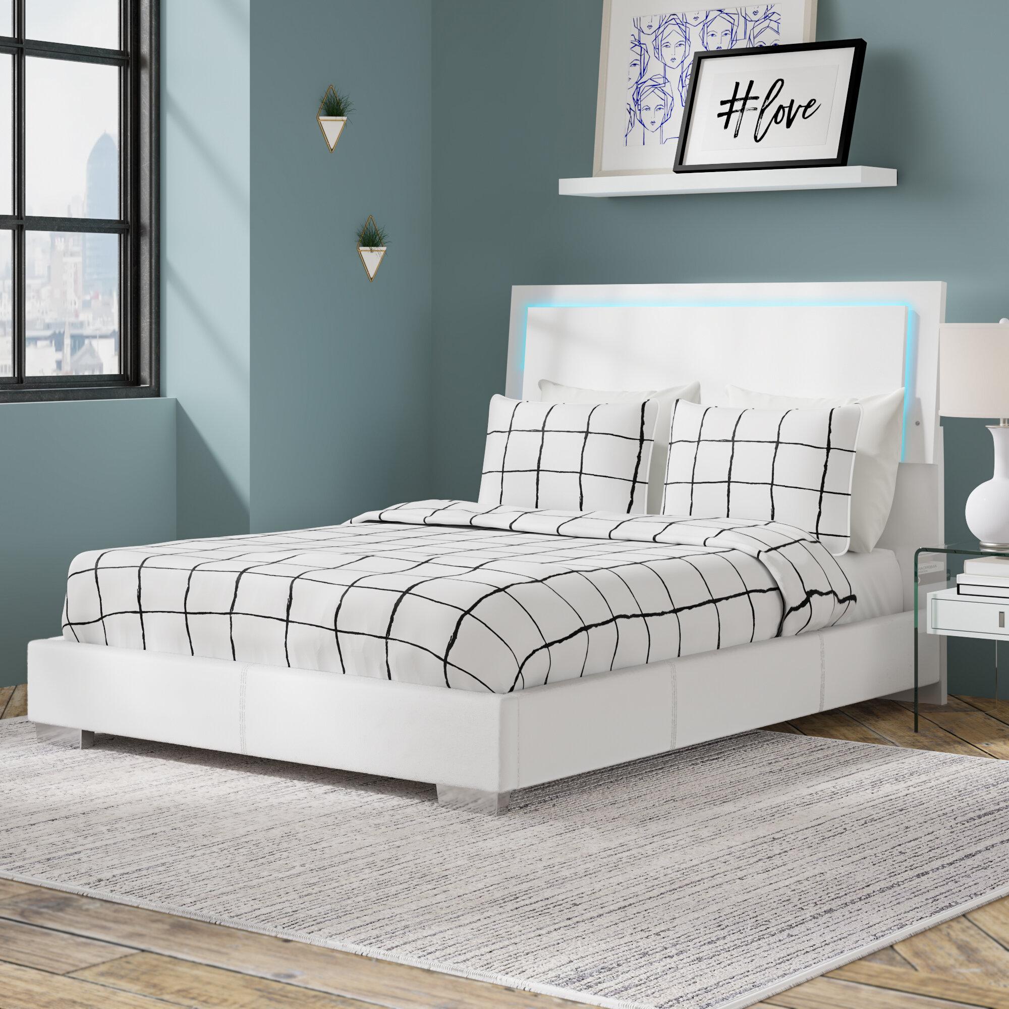 Beds Bed Frames Full Size Platform Leather Bed Wooden Headboard Frame W Led Lights White Modern Home Garden