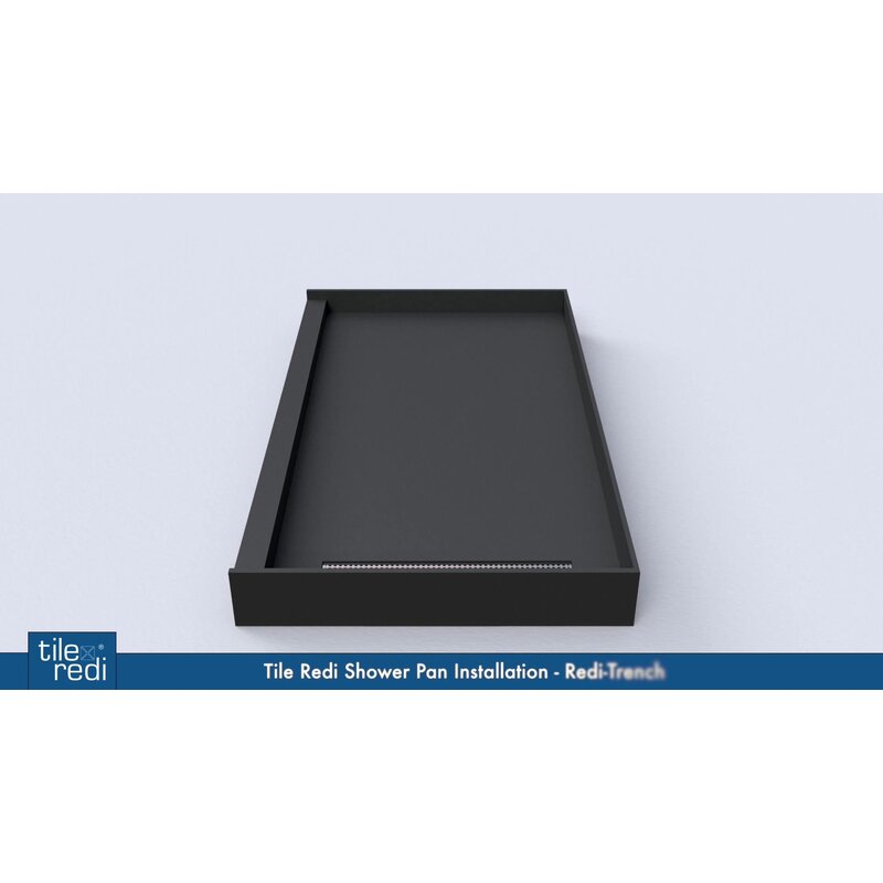 Plank Pitch Double Threshold Shower Base With Drain Cover