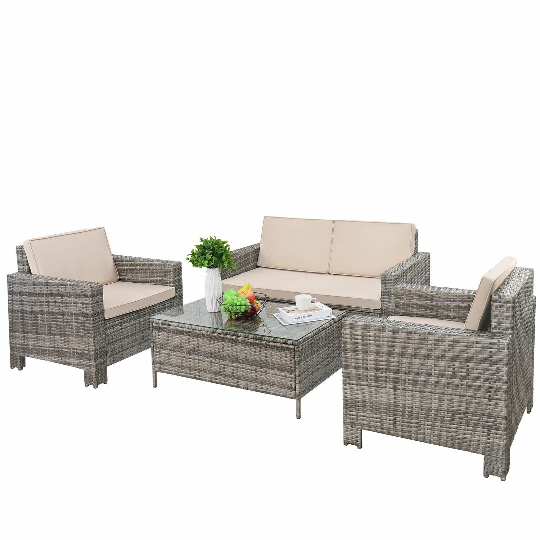 Rosecliff Heights Abasi 4 Piece Rattan Sofa Seating Group Reviews Wayfair