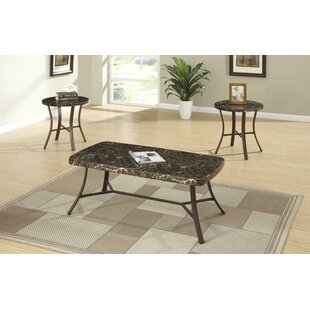 Canis Metallic 3 Piece Coffee Table Set with Faux Marble Top