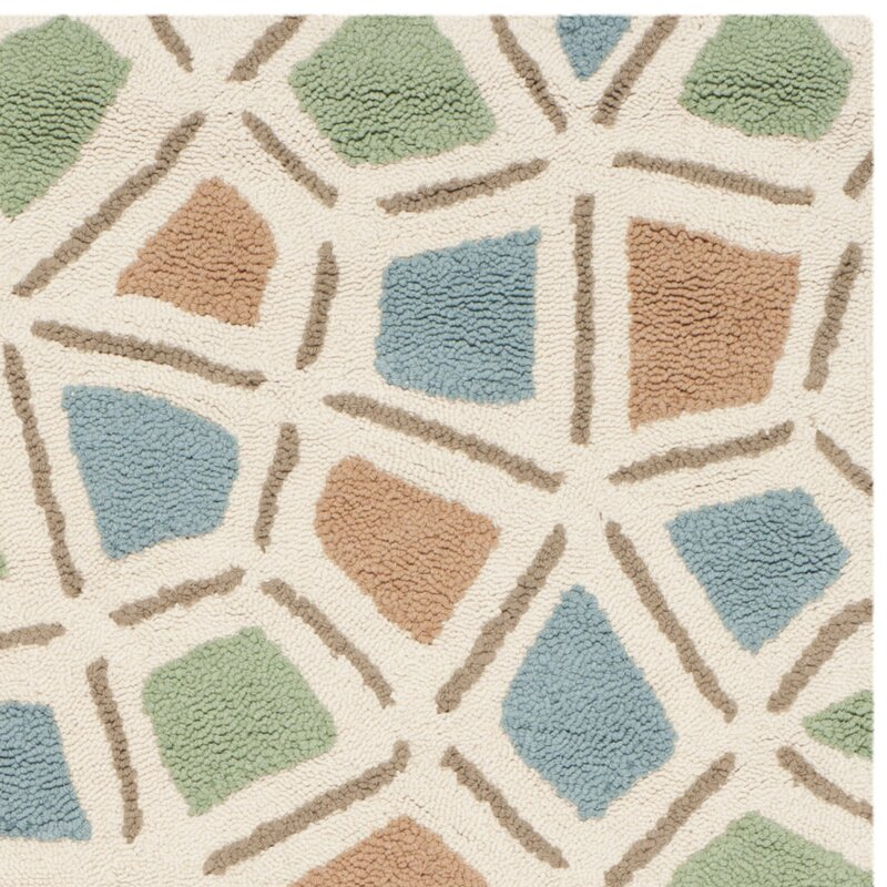 Highland Dunes Atilia Geometric Hand Hooked Cotton Blue Green Brown Area Rug Wayfair