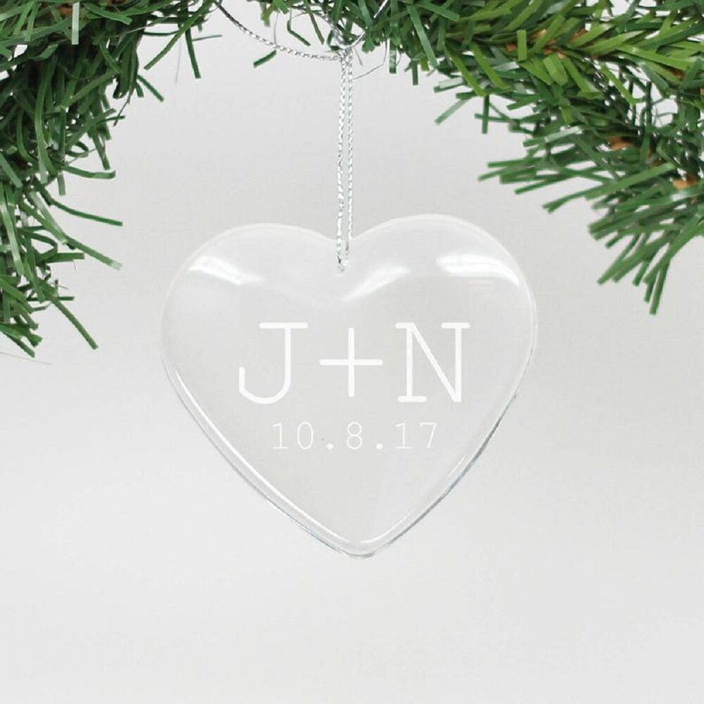The Holiday Aisle Engraved Glass Heart Holiday Shaped Ornament Wayfair