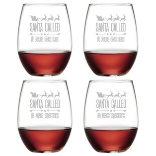 santa called glass 21 oz all purpose stemless wine glass set of 4