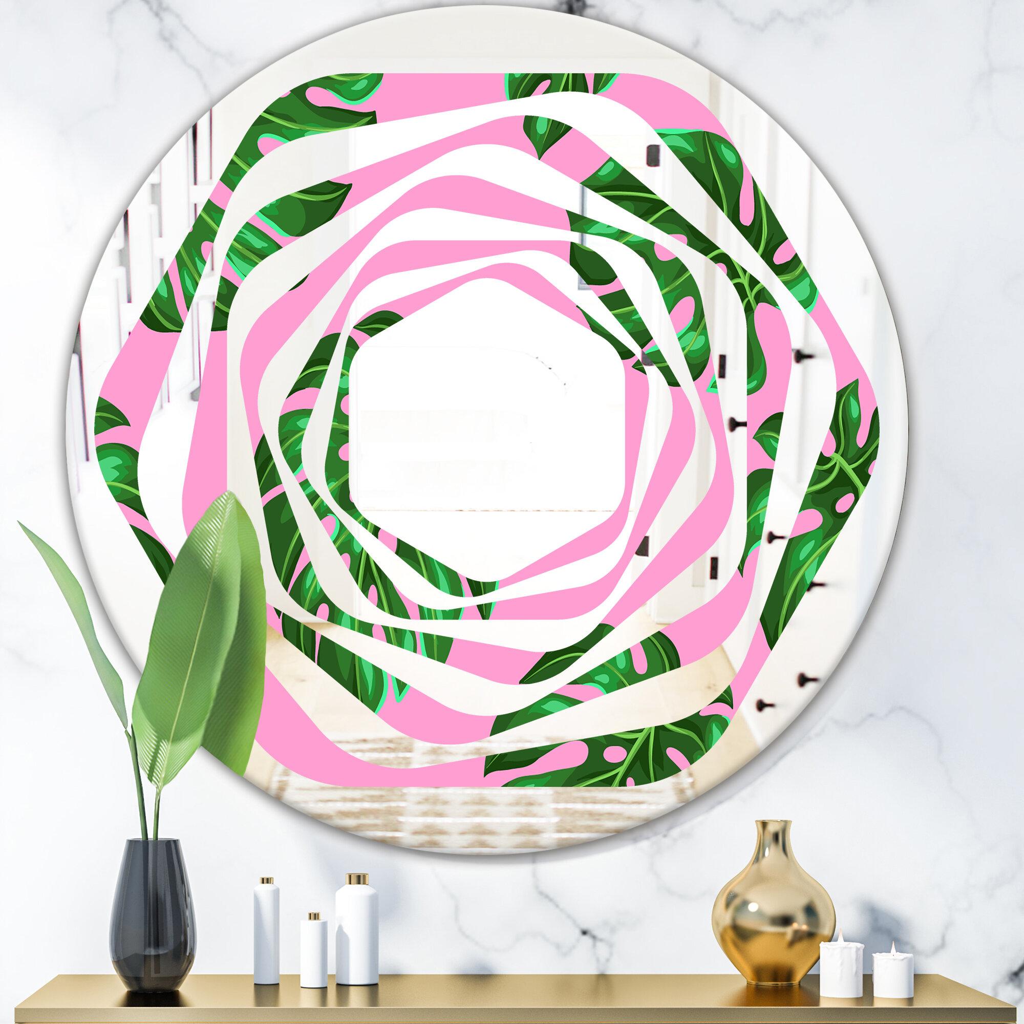East Urban Home Whirl Palm Leaves Iii Coastal Frameless Wall Mirror Wayfair