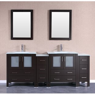 Amara 84 Double Bathroom Vanity Set with Mirror by Bosconi