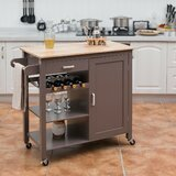 Alise Kitchen Cart Solid Wood by Ebern Designs