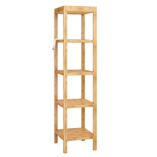 Kaci 57.5 H x 14 W Bamboo 5-Tier Shelving Unit by Rebrilliant