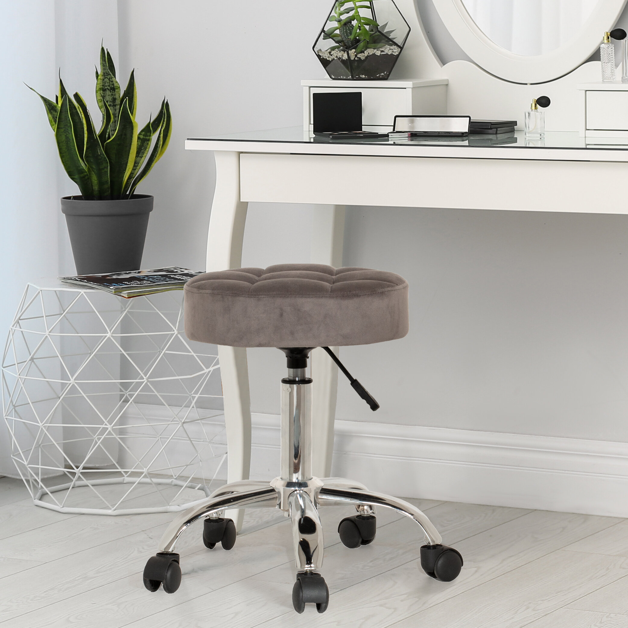 Color : GRAY WXQ Bedroom Dressing Table Stool Wrought Iron Gold Metal Legs Vanity Stool Modern Small Round Stool For Living Room Fitting Room
