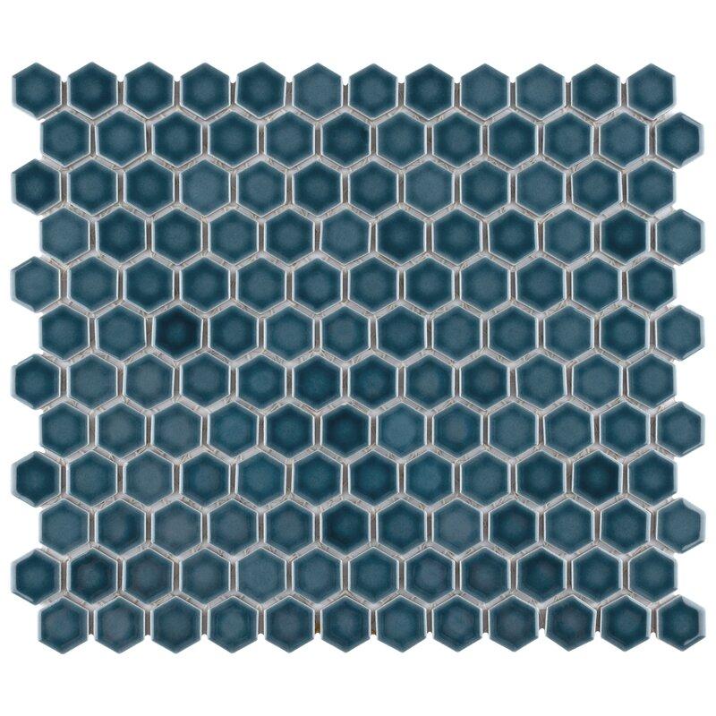 tribeca 1 x 1 porcelain honeycomb mosaic wall floor tile