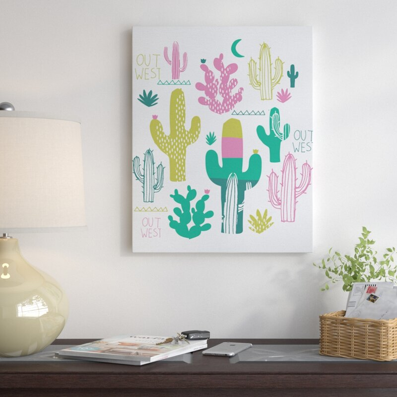 East Urban Home 'Cactus Out West' Graphic Art on Wrapped Canvas