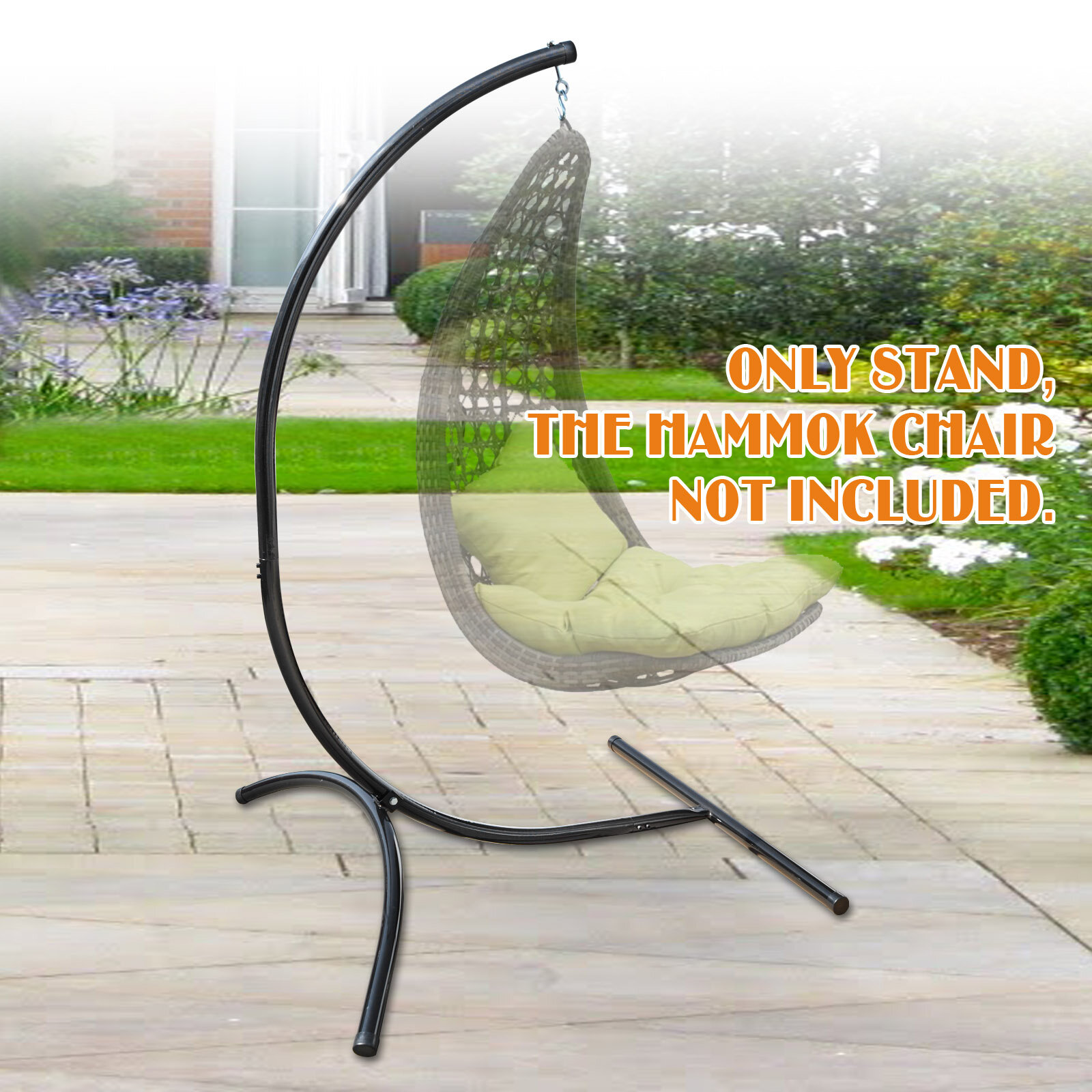 Picture of: Arlmont Co Kaley Hanging C Frame Swing Holder Metal Hammock Chair Stand Reviews Wayfair