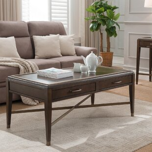 Winnifred 2 Drawer Coffee Table with Tray Top by Alcott Hill