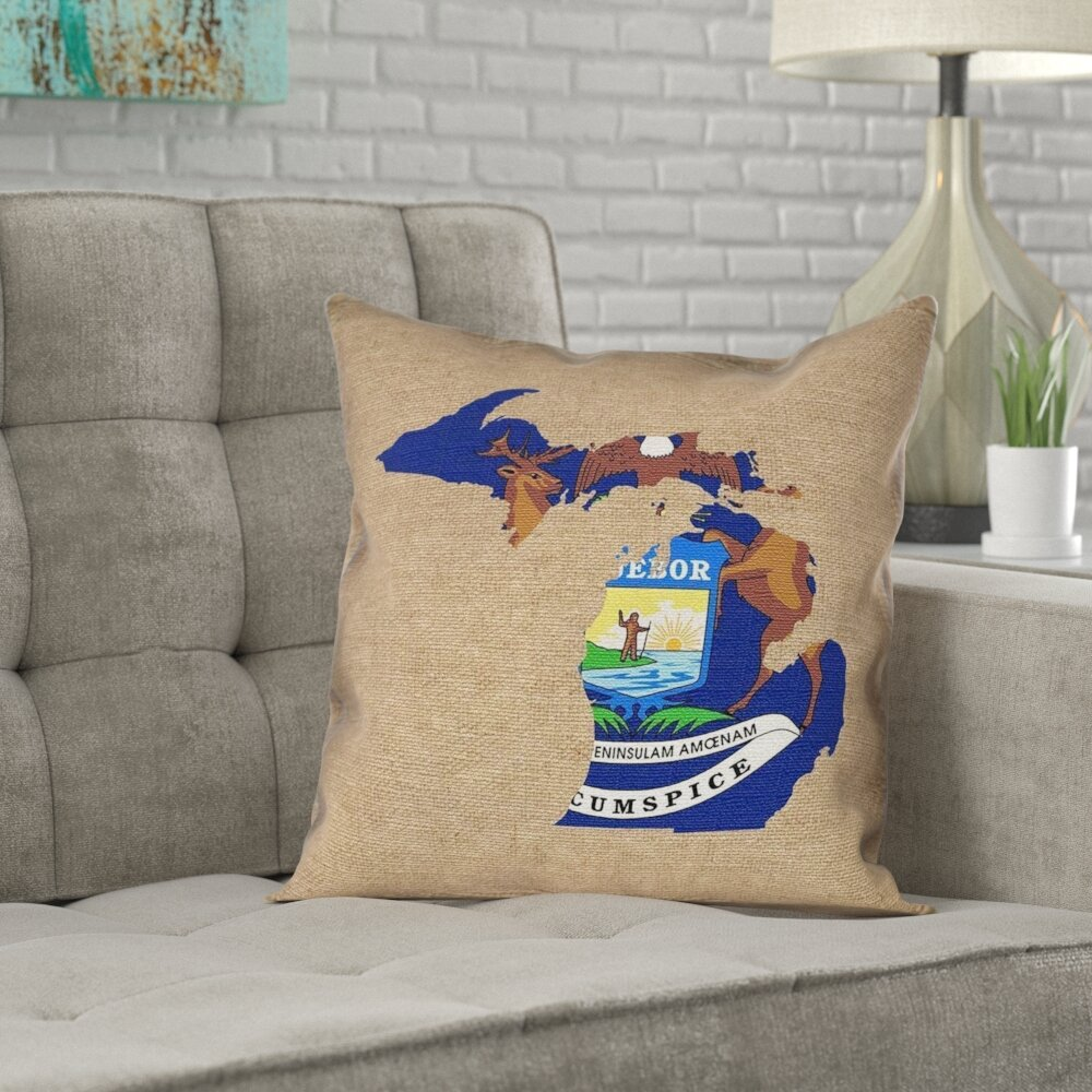 Strange Mendell Michigan State Flag Pillow In No Uv Waterproof Mildew Proof Throw Pillow Andrewgaddart Wooden Chair Designs For Living Room Andrewgaddartcom