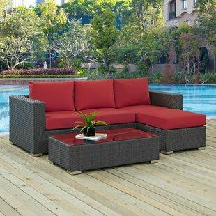 Leda 3 Piece Rattan Sunbrella Sofa Seating Group with Cushions By Brayden Studio