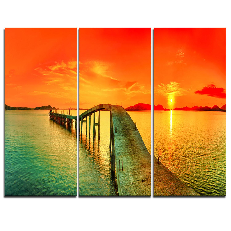 Designart Fabulous Sunset Panorama 3 Piece Graphic Art On Wrapped Canvas Set Wayfair