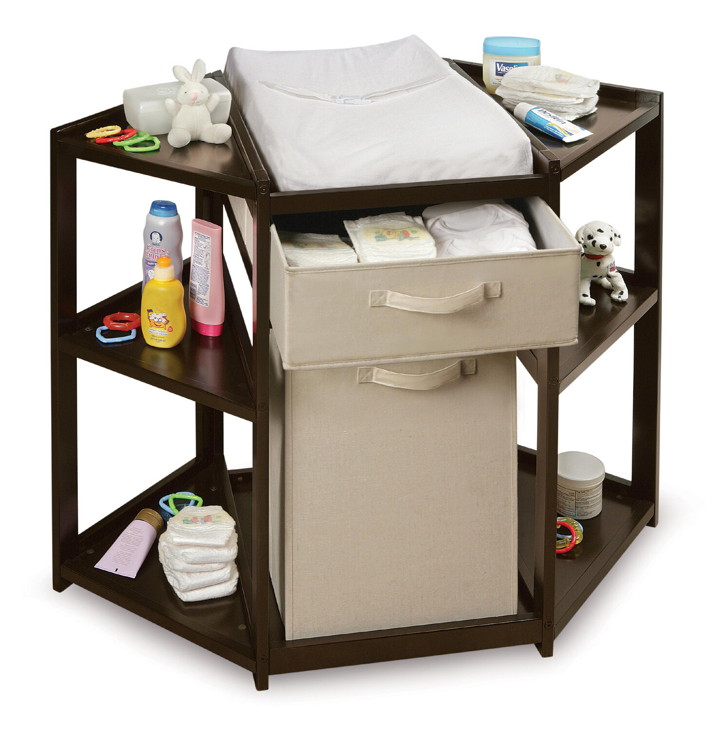 91131ee4de4 Badger Basket Diaper Corner Baby Changing Table with Hamper and Basket    Reviews