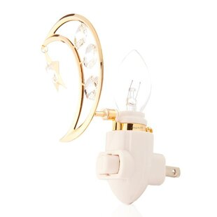 Matashi Crystal 24K Gold Plated Moon and Dangling Star Night Light