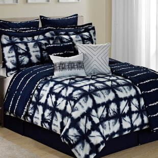 Anadarko Tie Dye Plaid 12 Piece Printed Reversible Comforter Set