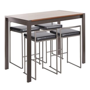 Gary Industrial 5-Piece Counter Height Dining Set by Wade Logan